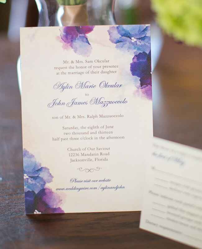Purple & Blue Watercolor Flower Invitations |<img class=