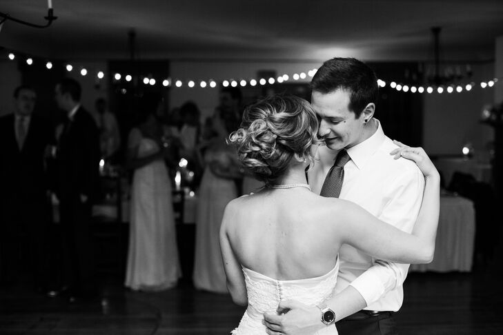 The couple hit the dance floor for a romantic spin as newlyweds.