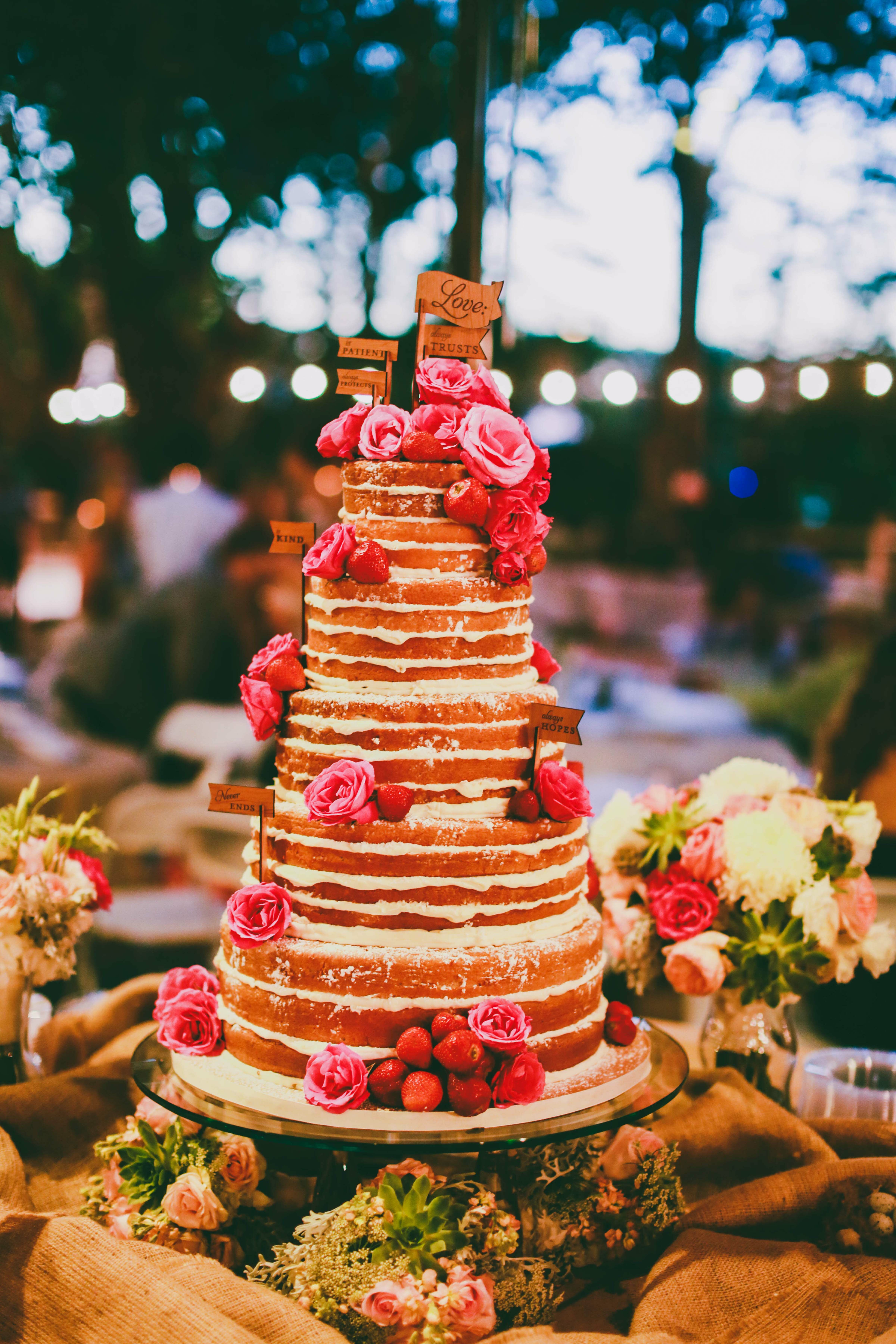 Naked Cake With Pink Floral Accents-3462