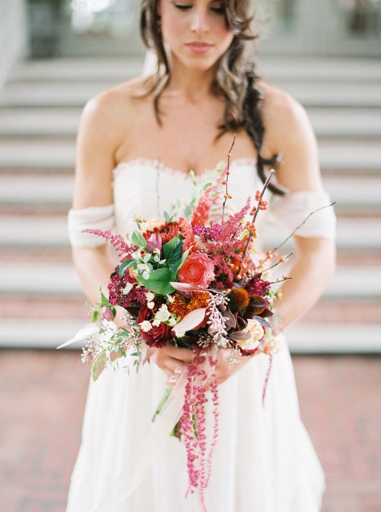 Pink and maroon fall wedding bouquet