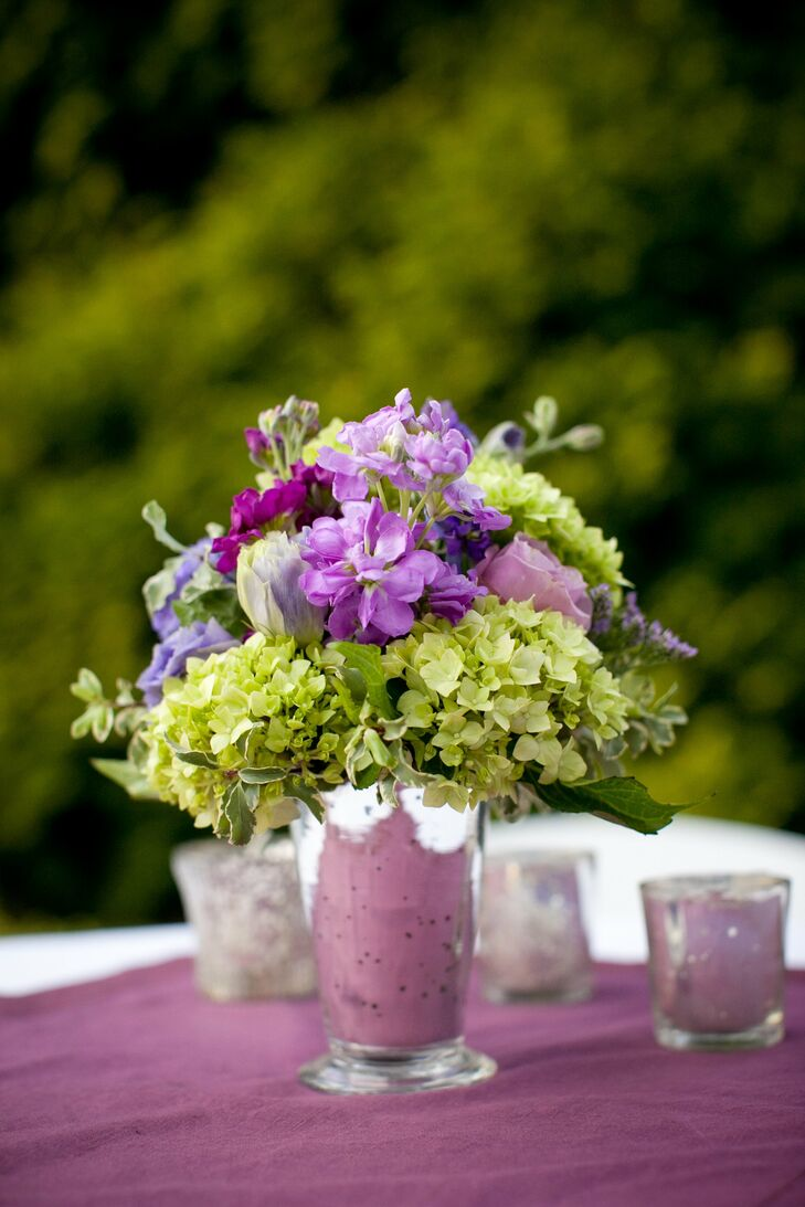 Purple And Green Centerpiece : Green and purple centerpieces