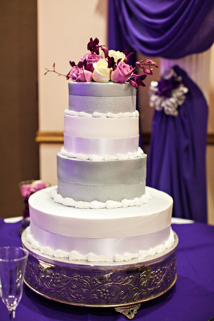 Modern Silver and White Wedding Cake with Purple Roses