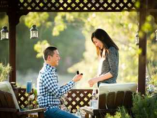 Outdoor gazebo marriage proposal