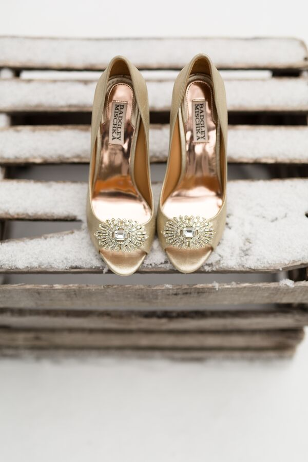 Badgley Mischka Crystal-Decorated Champagne Wedding Shoes