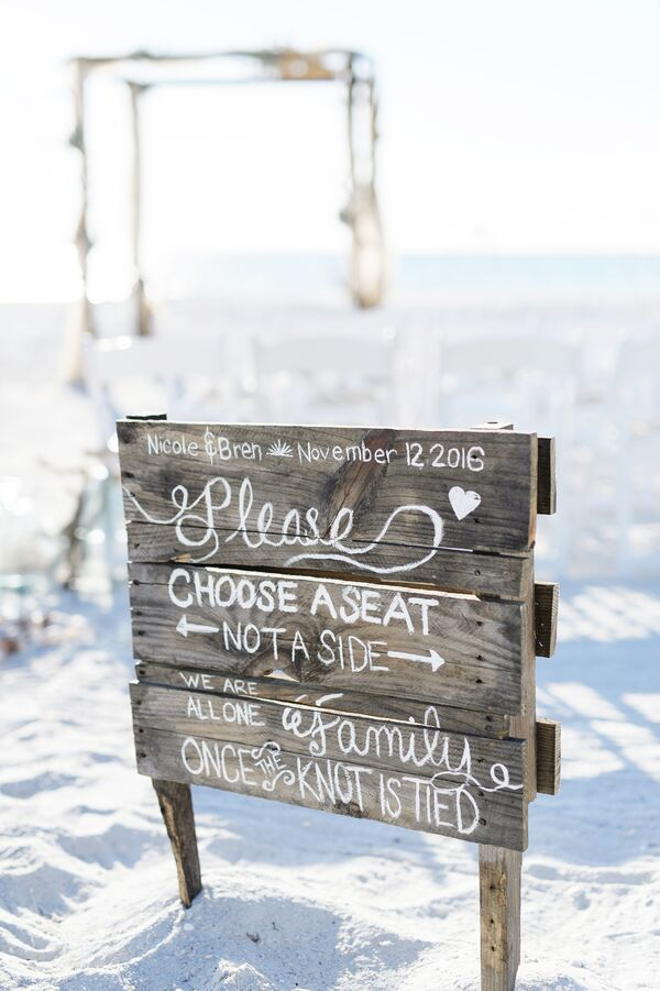 Rustic Wooden Ceremony Welcome Sign