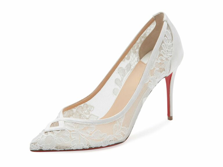 Louboutin Lace White Wedding Shoe
