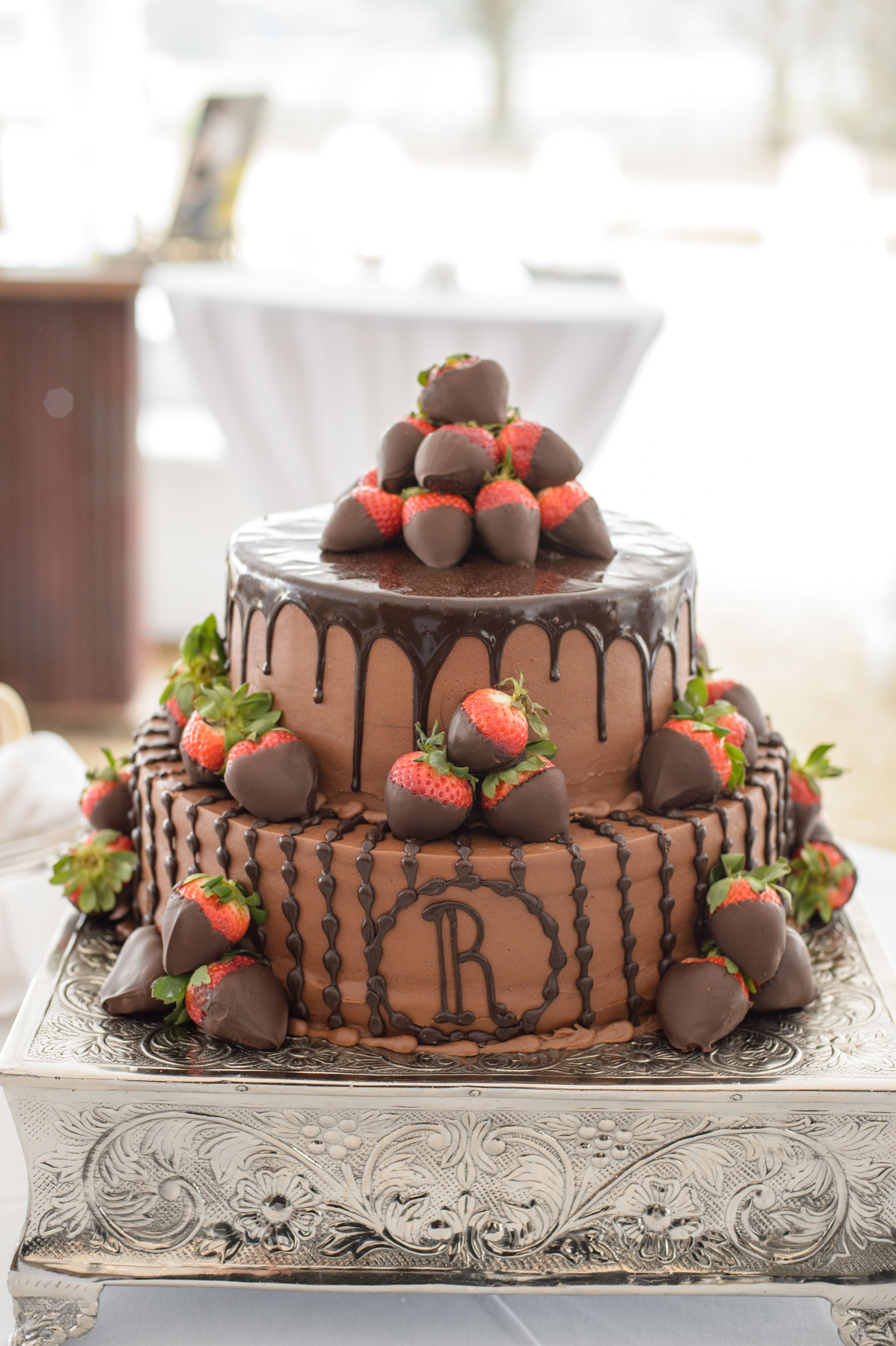Tiered Grooms Cake With Chocolate Strawberries