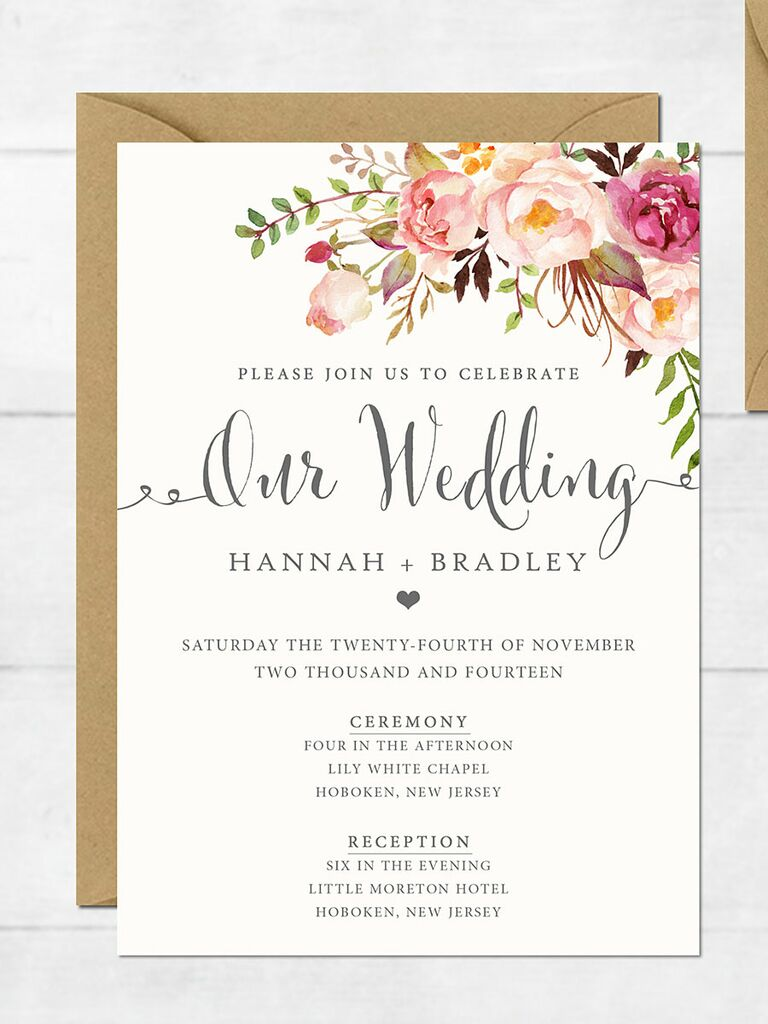 16 printable wedding invitation templates you can diy floral romance wedding invitation stopboris Choice Image