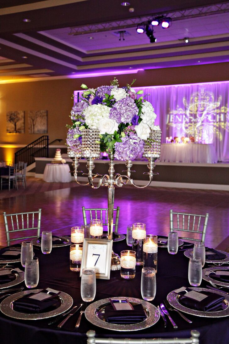 Tall Silver Candelabra Centerpiece With Purple Accents