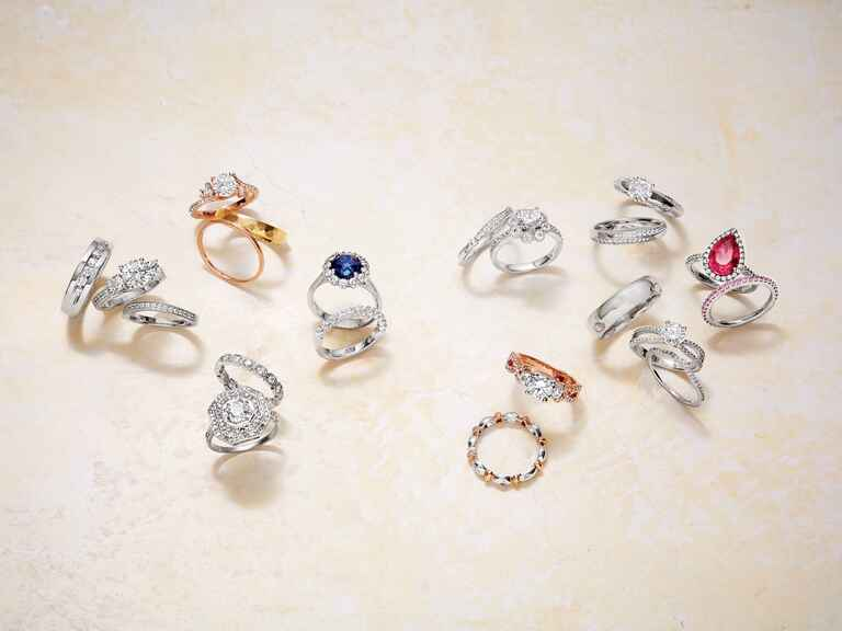 Diamond, sapphire and ruby engagement rings