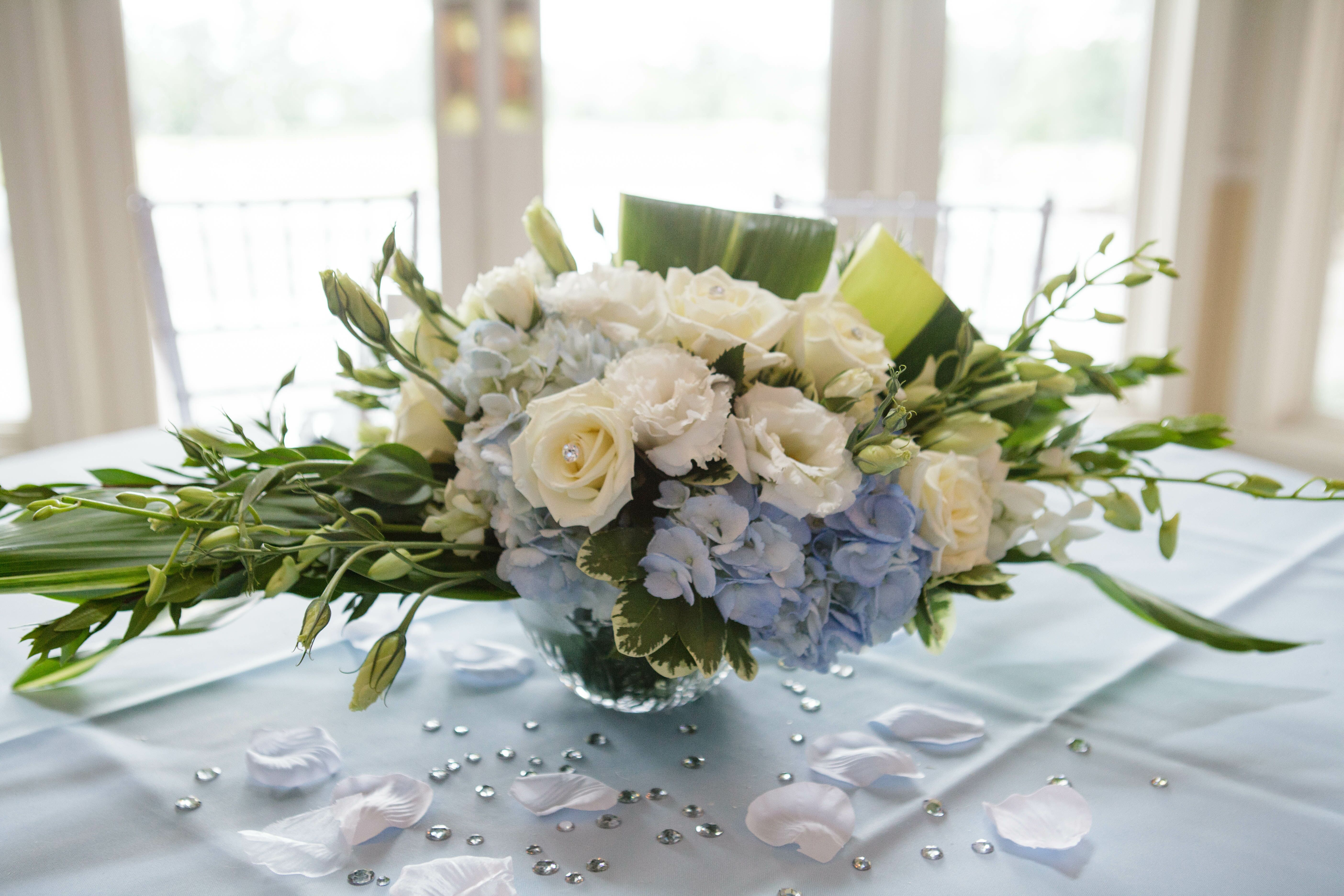 White Rose And Baby Blue Hydrangea Centerpiece