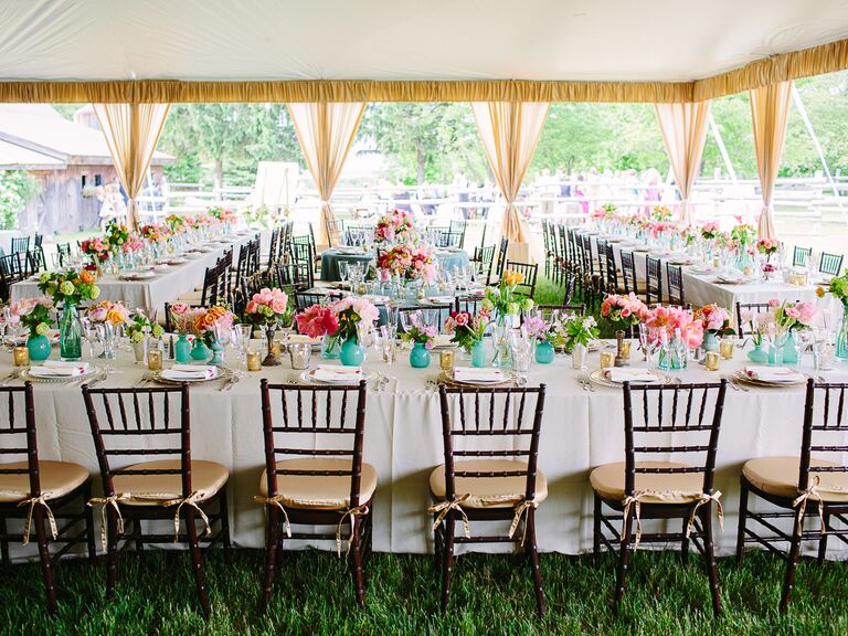 Turquoise and pink tented wedding reception next to barn ceremony & All About Tents
