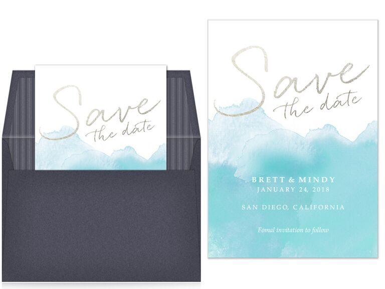 Pingg Blue Watercolor And Gold Foil Digital Save The Date
