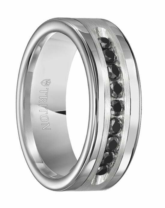 Larson Jewelers SILAS Polished Tungsten Carbide Wedding Band with Brush Finish Silver Inlay and 1/2 Carat of Channel Set Black Diamonds by Triton Rings - 9 mm Wedding Ring photo
