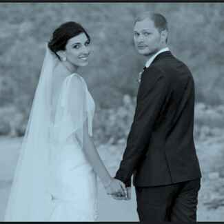 The Knot site director Anja Winnika and her husband on their wedding day