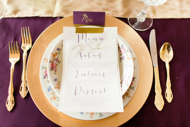 Gold Plates and White Menu Cards