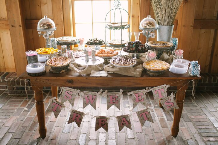 """The dessert table rocked,"" Angela says. ""I wasn't one for anything traditional so out with a traditional wedding cake. Instead we opted for an assortment of pies, brownies, bars and candy. The sweet treats table was a hit and some of the best pie I've ever had.rnYummy!"""