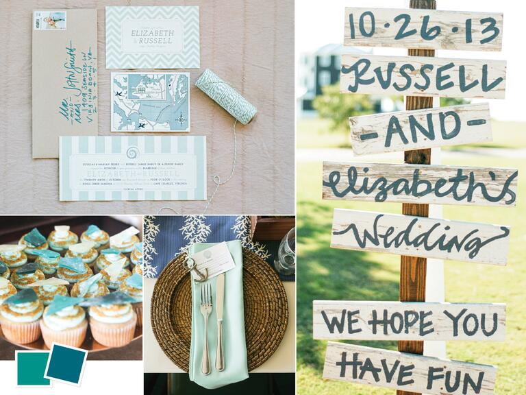 Seaside destination wedding color palette