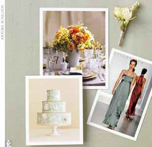 light green and neutral wedding style board