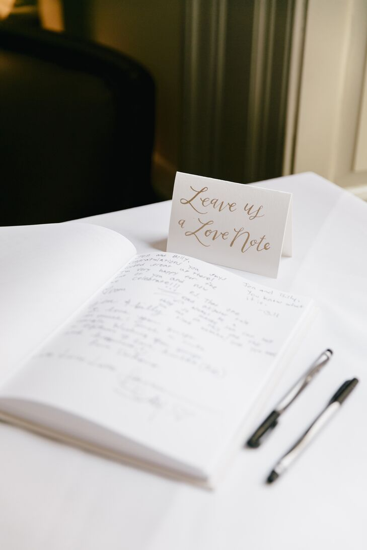 Jen and Billy asked guests to leave them a love note in a guest book, including advice, humorous comments and sentimental messages from guests of all ages.