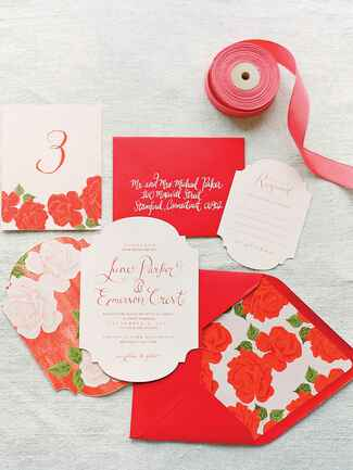 Smitten On Paper red rose-themed wedding stationery