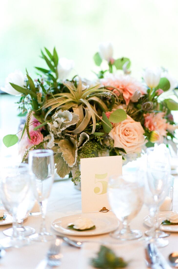 Floral Centerpiece with Air Plants and Roses