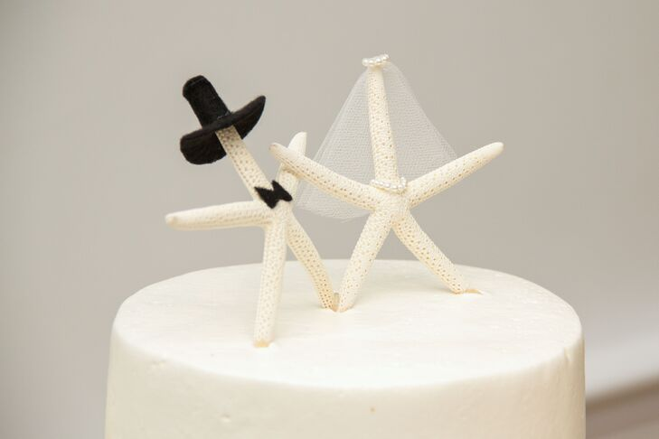 Bride and Groom Starfish Cake Topper