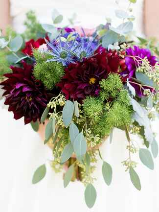 Dahlias and cornflower wildflower wedding  bouquet