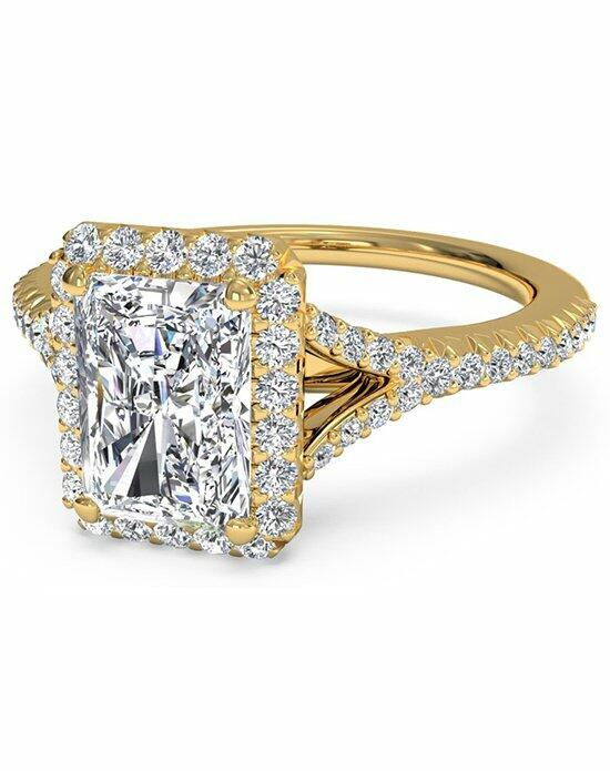 Ritani Radiant Cut French-Set Halo Diamond 'V' Band Engagement Ring in 18kt Yellow Gold (0.23 CTW) Engagement Ring photo