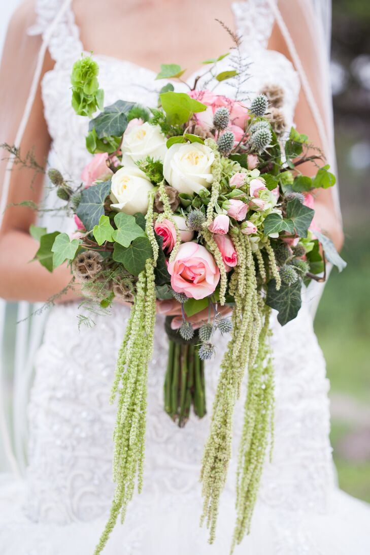 Diy Pink Green And White Bridal Bouquet