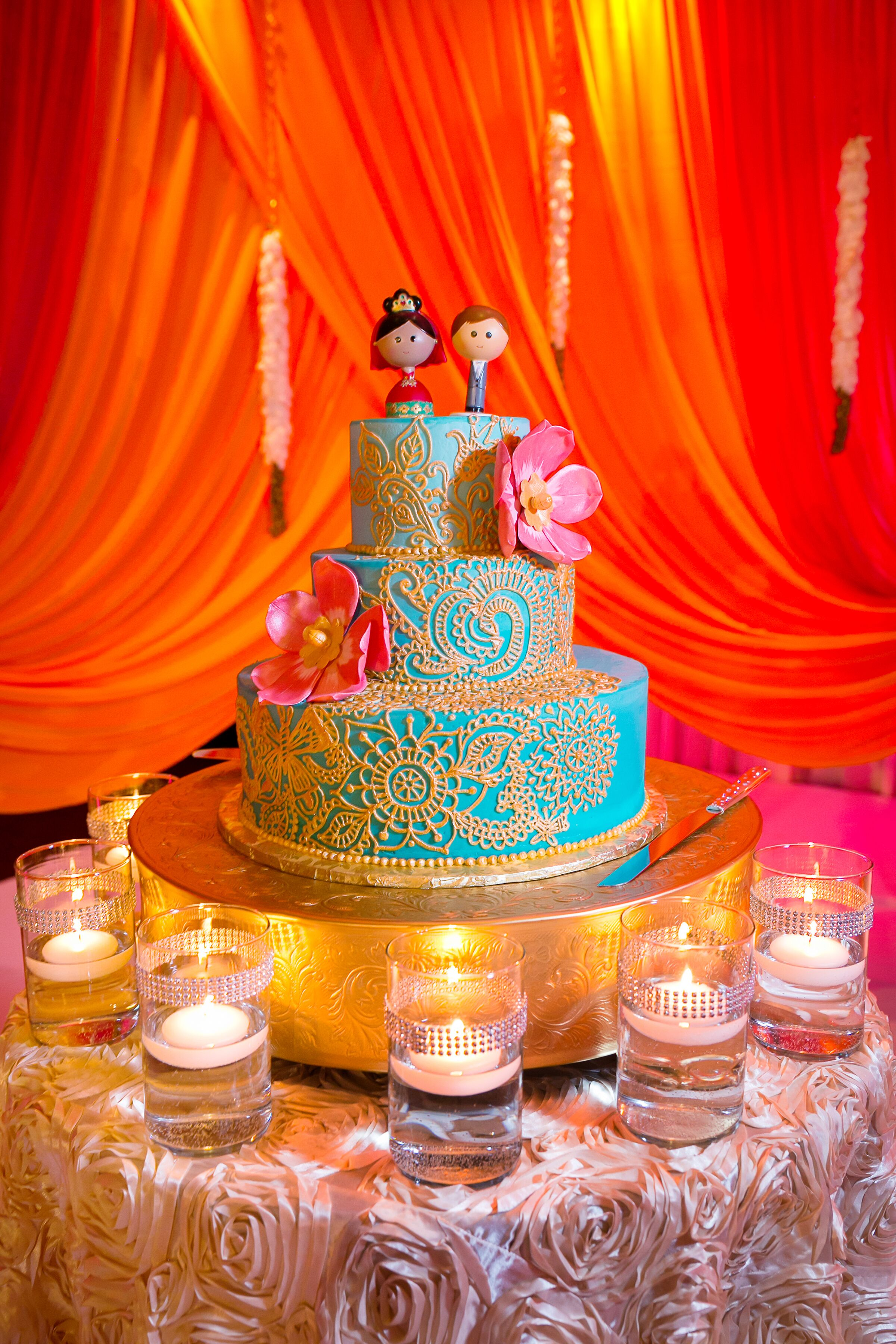 Turquoise And Gold Buttercream Wedding Cake
