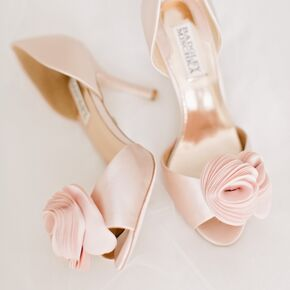 Blush Pink Bridal Heels With Fl Lique
