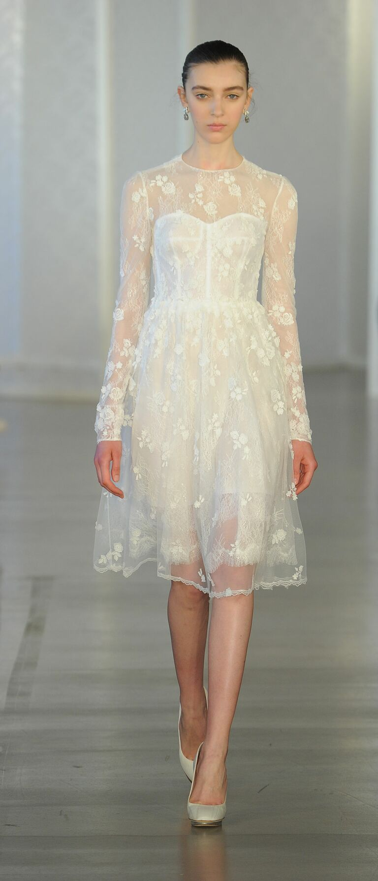 short wedding dresses for courthouse courthouse wedding dresses Short Wedding Dress With Sheer Sleeves
