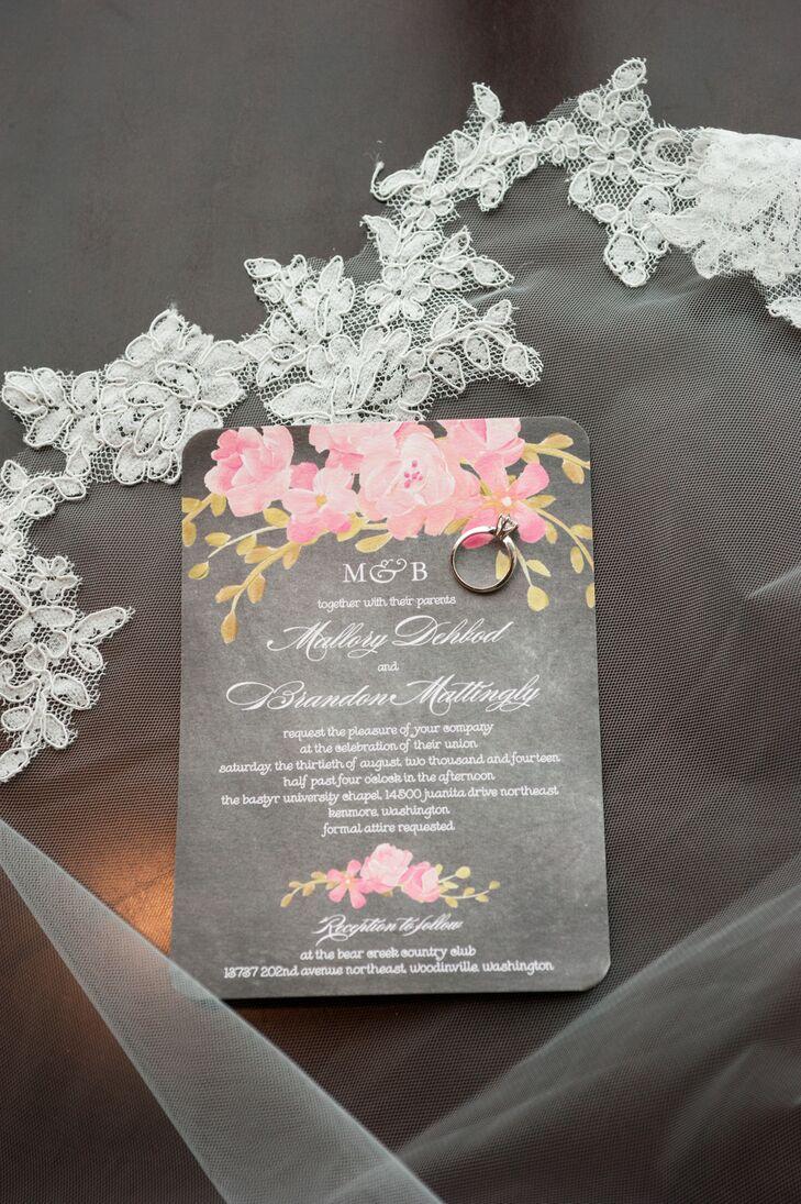 gray pink and green wedding invitations