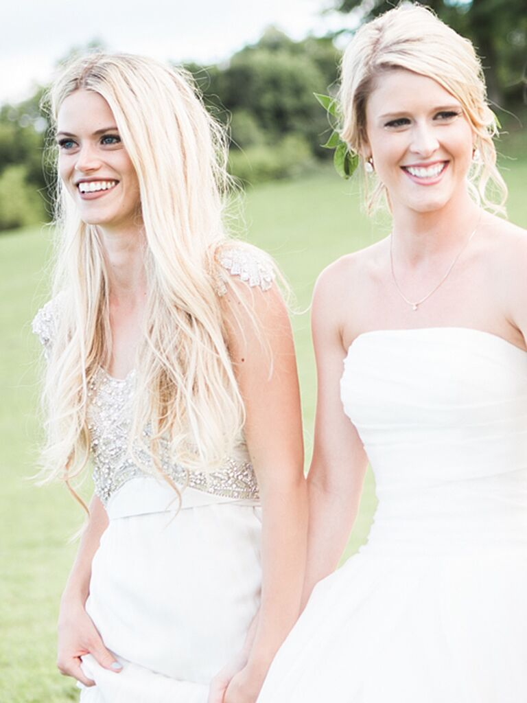 Chic straight wedding hairstyle with a middle part