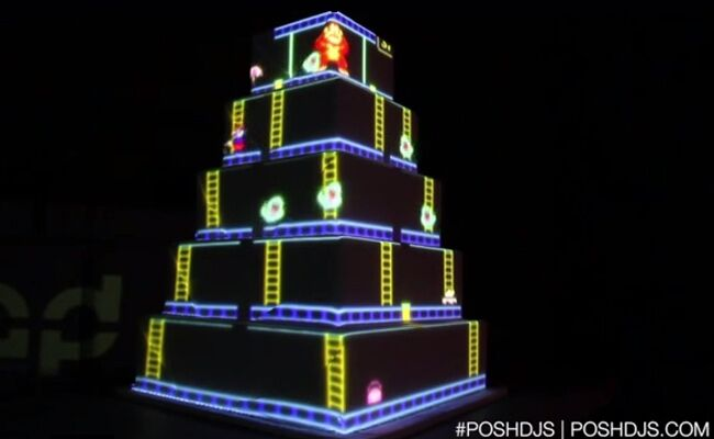 Video Game Projection Wedding Cake