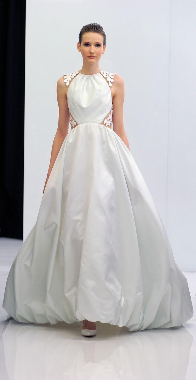 Angel Sanchez Spring 2017 Bubble Hem Wedding Dress With Acrylic Embroidered Illusion Back