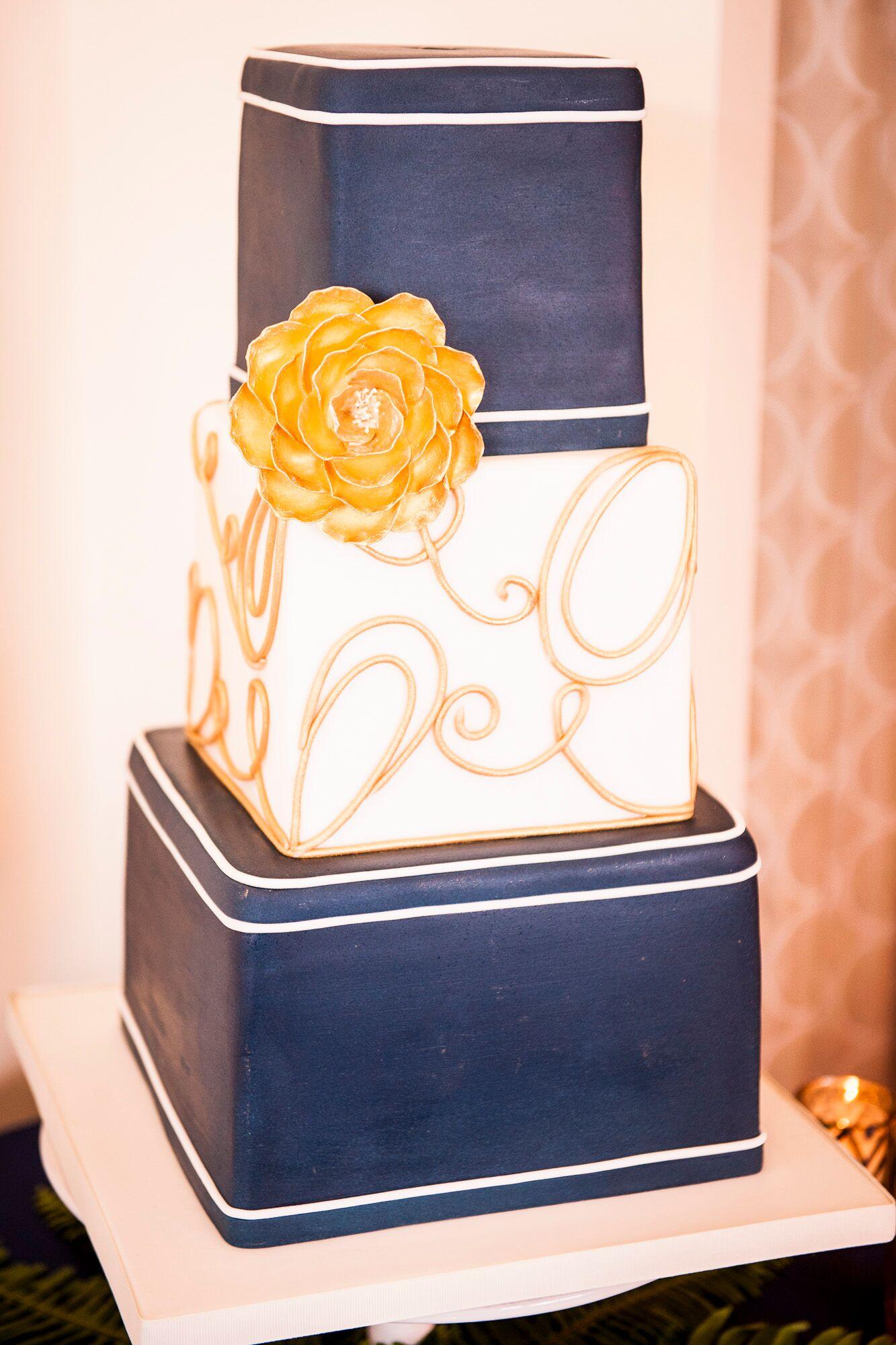 Navy Gold and White Wedding Cake