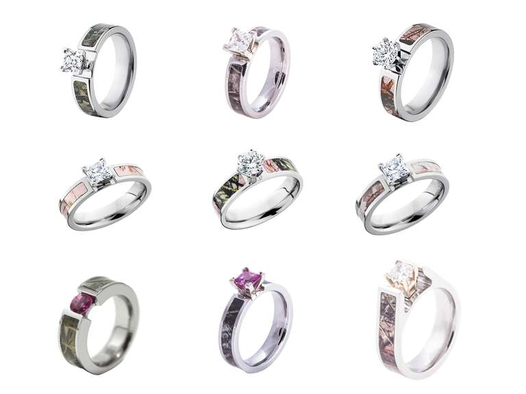 58 camo wedding rings and engagement rings for the camo wearing couple - Country Wedding Rings