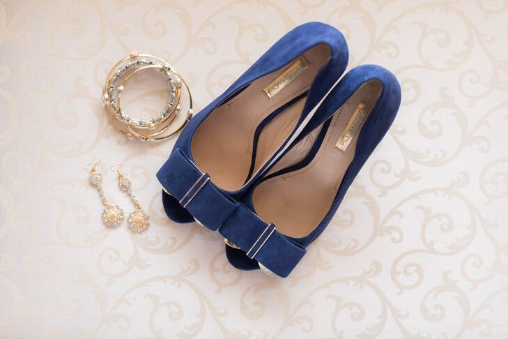 Blue Satin Wedding Shoes with Bows