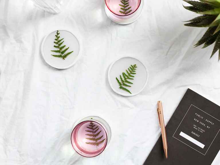 The Lovely Drawer DIY Botanical Coasters cheap wedding gift