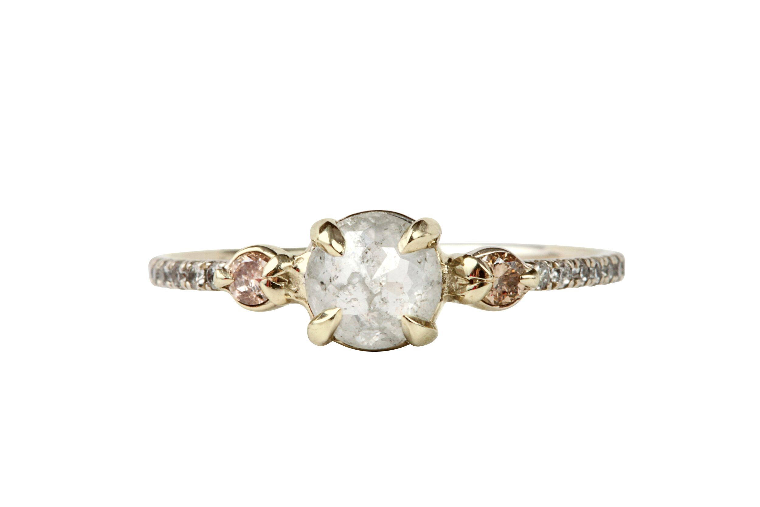 rose cut halo artsy todd rustic ring gold diamond engagement in reed alara rings quick view jewelry
