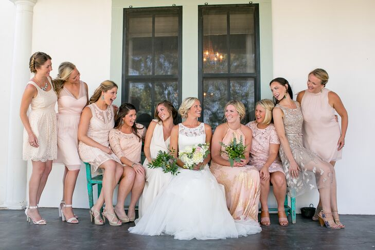 Mismatched Blush Bridesmaid Dresses and Nude Heels