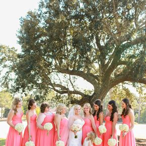Long Coral Bridesmaid Dresses With Sweetheart Necklines
