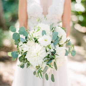 White Dahlia And Lisianthus Bouquet