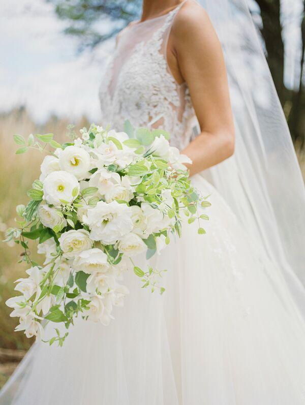 Cascading White Gardenia And Ranunculus Bouquet