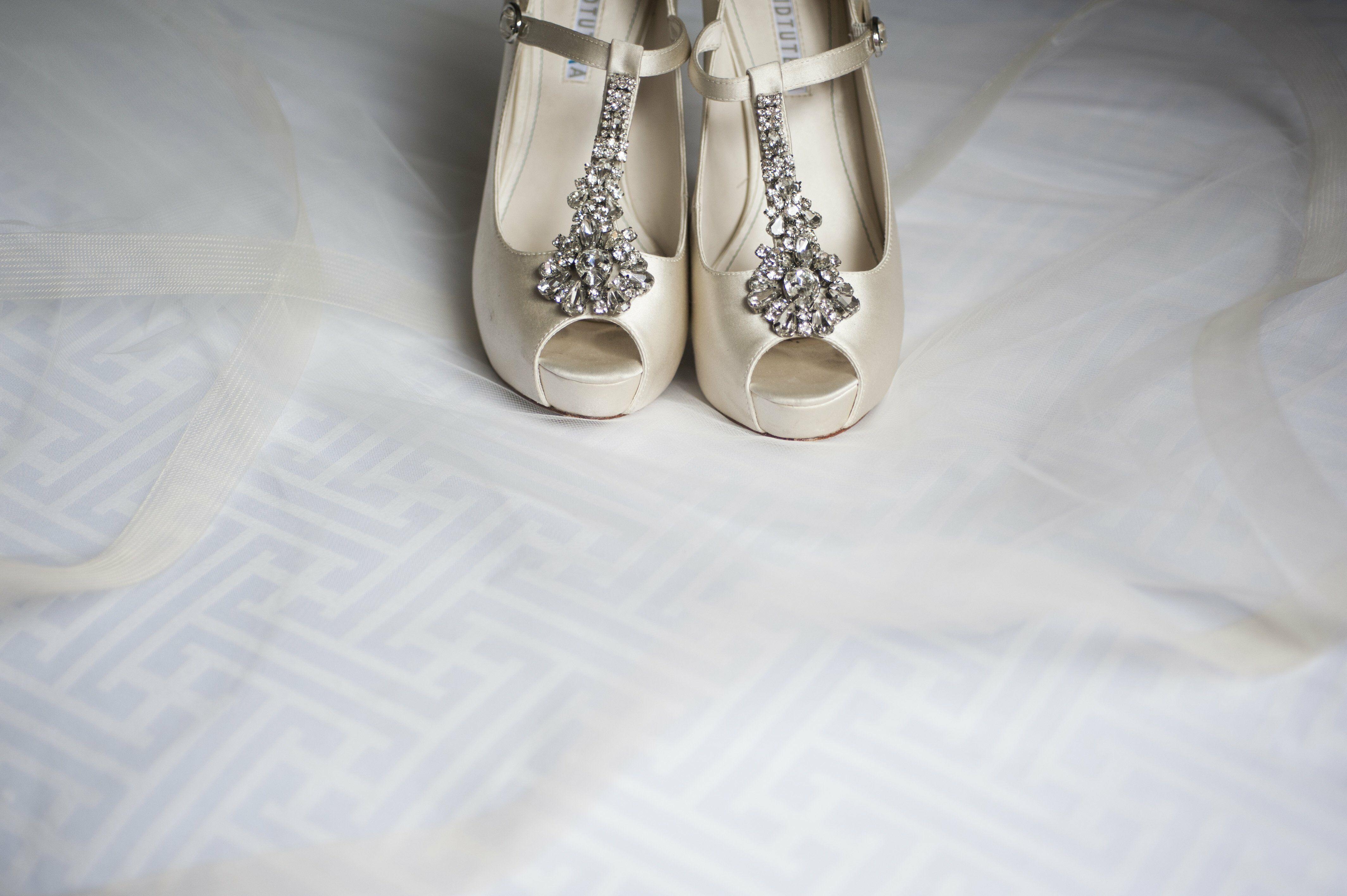 Bejeweled T Strap Wedding Heels