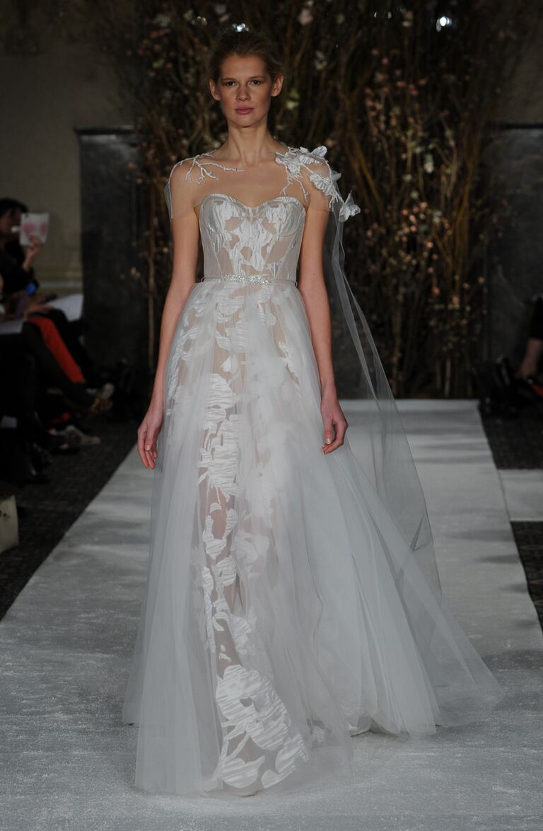 Mira Zwillinger Spring 2017 Sheer A Line Wedding Dress With Organza Overlay And Beaded Belt