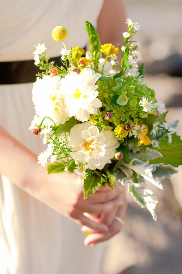 Charming Green and White Bridal Bouquet