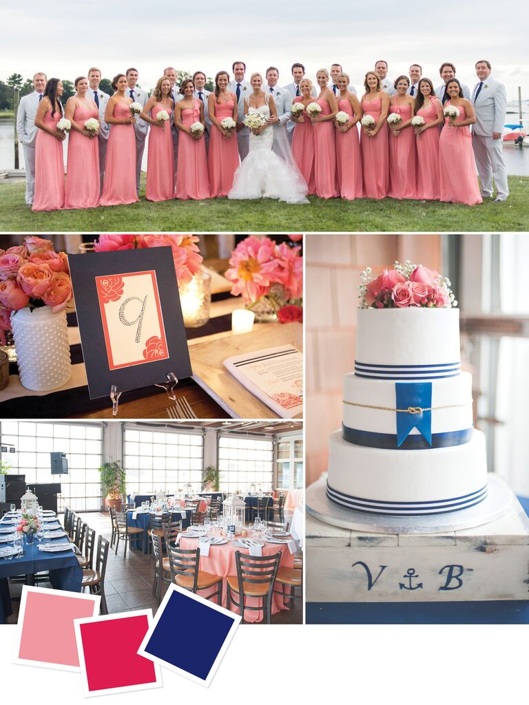 Nautical Themed Beach Wedding With Coral Fuchsia And Navy Colors